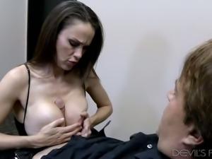 Super busty brunette wifey Mckenzie Lee blows hard dick foe hr man and then...
