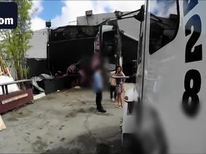 Horny slut banged in cabrio