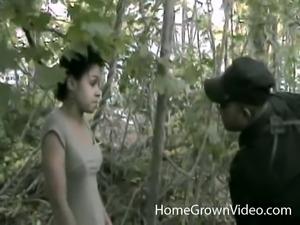 Ebony honey talked into sucking and fucking a long dong