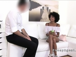 Slender tall ebony amateur bangs in casting