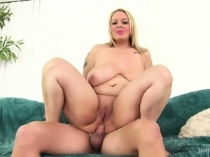 Voluptuous blonde Samia buries a long cock deep inside her hungry ass