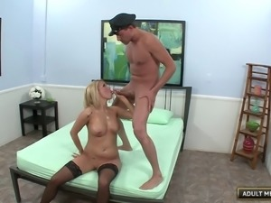 Police girl punishes the naughty's studs throbbing schlong