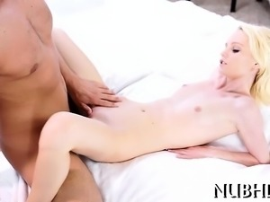 Tiny adorable gal sucks huge hard penis