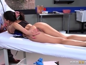 Dainty Latina pornstar in high heels seduces then fucks her doctor hardcore