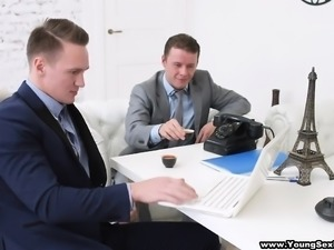 Two businessmen are in town looking for a hottie to fuck