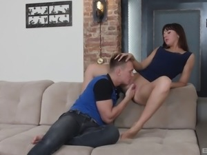 Brunette honey jumping on a hard dick destroying her own pussy