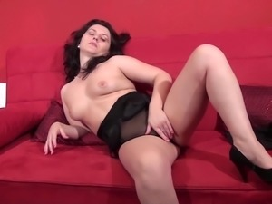 Sarah with hot ass moaning while enjoying toy indoors