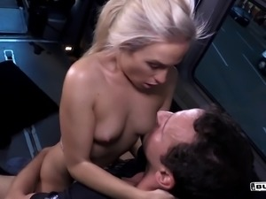 Man's big cock is all a cute blonde wants to play with