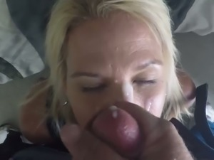 MILFie blond haired lady got really busy with sucking a stiff cock