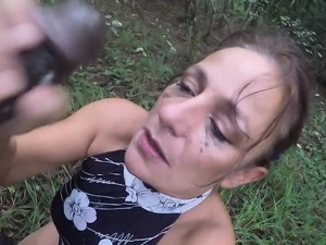 Black cock throatfuck in wood part Marlo from 1fuckdatecom