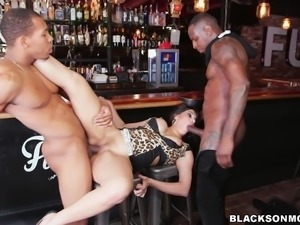 She got ready to satisfy two black hunks and both the guys started fucking...