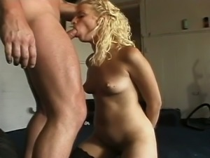 Curly haired blond hooker in sexy stockings Marilynn gets her cunt banged...