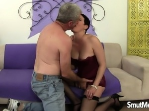 Short haired brunette wife in lingerie fucks a big dick with passion