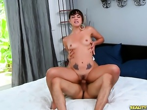 Brunette senorita with round butt gives unthinkable oral pleasure to hard...