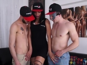 Boys love sucking on a gorgeous brunette shemale's dong