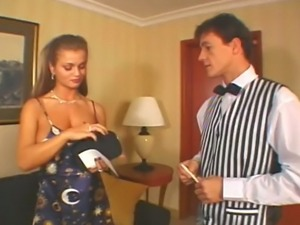Big boobed brunette MILF Rita Faltoyano had steamy oral sex with the waiter...