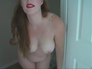 Chubby amateur girl poking wet vagina with big dildo