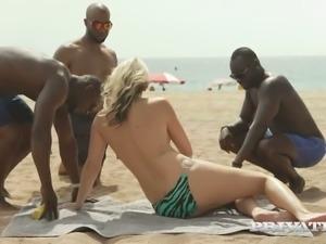 Trio of sex-hungry black studs fucks super insatiable blonde Julia Pink