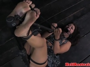 Bastinado disciplined submissive is nosehooked