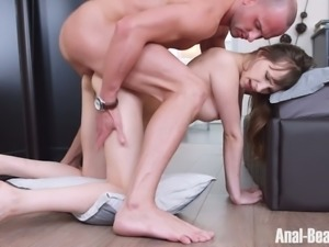 Cute pale skin white young chick on the bed tries anal sex