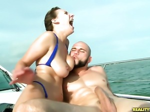 Brunette Alora Jaymes with juicy tits and clean muff gets cum glazed in...