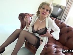 Unfaithful british milf lady sonia exposes her huge boobies