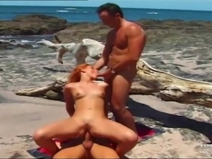 Agnes, DP Threesome in the Beach