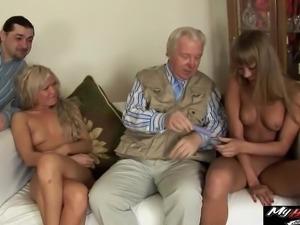 Nesti Shy and Sveta enjoy threesomes with old men