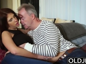 Teen fucked by old man she has beautiful big tits and bounces her boobs when...