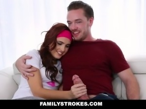 FamilyStrokes - Dad Almost Caught Me Fucking My Step-Bro
