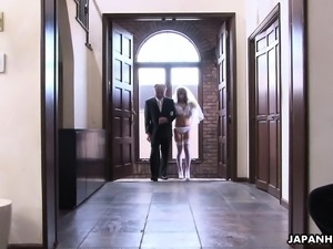 During her wedding she has to suck on a hard wiener
