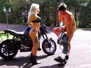 Vyxen Steel is a horny biker chick in need of a big dick