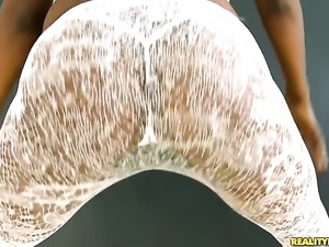 Piercings ebony Marri Coxz with big booty and bald beaver is on fire in...
