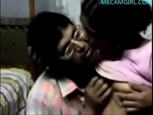 Indian guy makes out with a maid and licks her natural tits