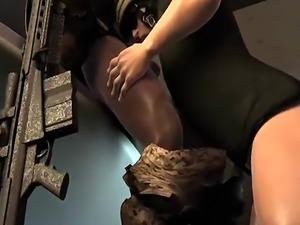 3D cartoon ebony soldier getting his hard cock suckced on