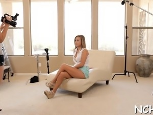 Beautiful looking teen chick gets her 1st casting experience