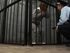 Prisoner beauty sucks the guyards dick in her cell