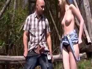 Deutsch blond and big tit teen pals Abby sucking hard-on outdoor