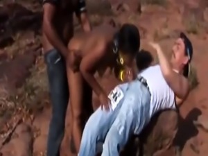 Submissive African Girl Gets Dominated By Two Horny Men With Big Dicks