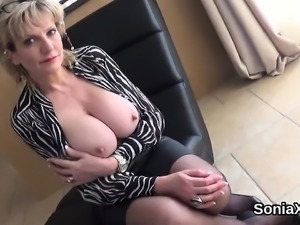 Unfaithful english mature lady sonia displays her massive ti