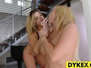 Stunning lesbian boss seducing her secretary