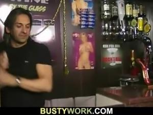 Mega boobs barmaid rides cock