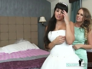 Horny bride asks her best friend to join her for a threesome