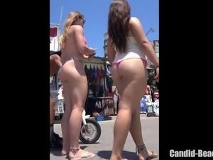 Big Booty Thong Latina Babes Beach Voyeur HD