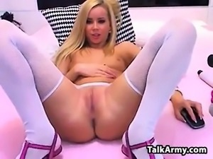 Blonde French woman in stockings on amateur sex tape