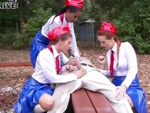 Huge cock satisfies three radiant pornstars in an outdoors foursome