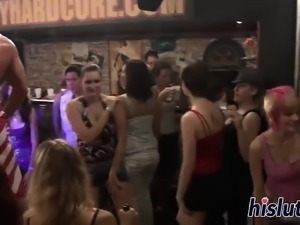Lovely bimbos suck cocks in an orgy