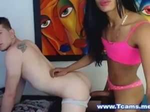 TS in Pretty Pink Panties Anals Her Lover