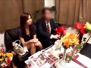 Japanese wife gets massged while husband waits
