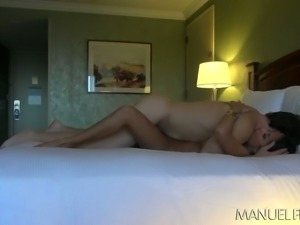 Beautiful brunette cutie rides dick and gets nailed missionary in motel